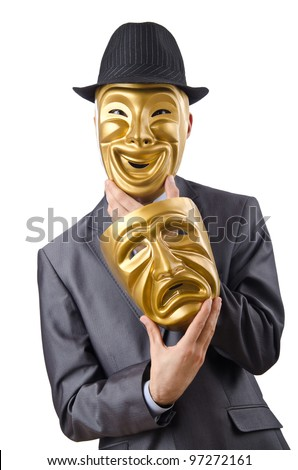 Businessman with mask concealing his identity - stock photo