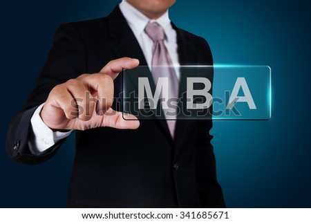 Businessman with MBA text label. - stock photo