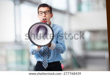businessman with megaphone - stock photo
