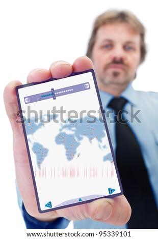 Businessman with modern gadget - with world map of dots - stock photo