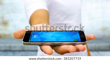 Businessman with modern mobile phone in his hand - stock photo