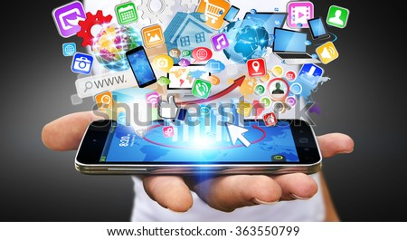Businessman with modern mobile phone in his hand and applications flying over - stock photo