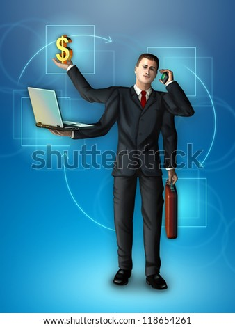 Businessman with multiple arms holding a briefcase, smartphone, notebook and dollar symbol. Digital illustration.