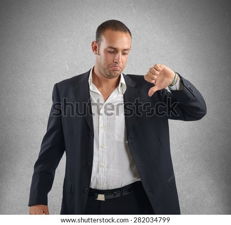 Businessman with negative expression and sad mood - stock photo