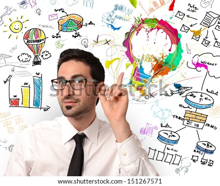 Businessman with new creative business idea - stock photo