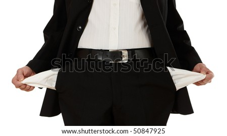 businessman with no money in his pockets - stock photo