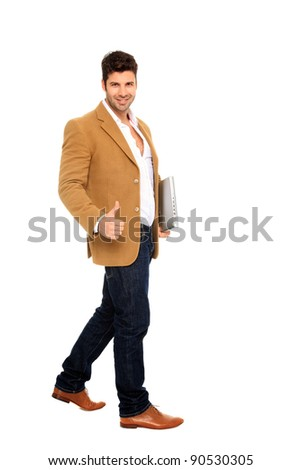 businessman with notebook walking isolated on a white background