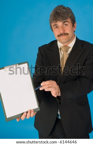 businessman with notepad - stock photo