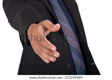 businessman with open hand ready for handshake. isolated on white - stock photo