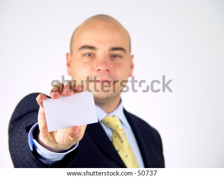Businessman with outstretched hand - stock photo
