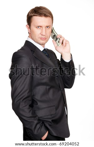 Businessman with pack of one hundred dollars calls to Benjamin Franklin