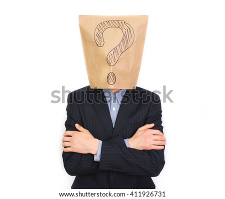 Businessman with package on head with drawing question mark - stock photo