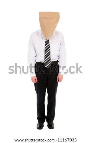 Businessman With Paper Bag On His Head - stock photo