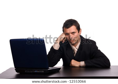 businessman with pc over white background