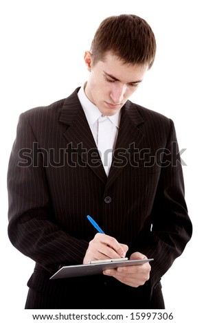 businessman with pen and notebook on white background