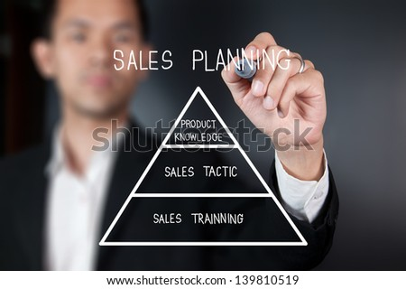 Businessman with pen drawing sales planning on whiteboard - stock photo