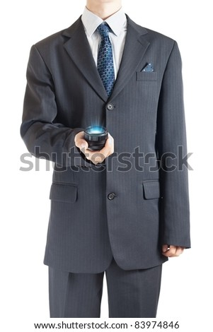 Businessman with personal holographic projector - stock photo