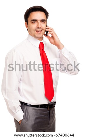 Businessman with phone, isolated on white