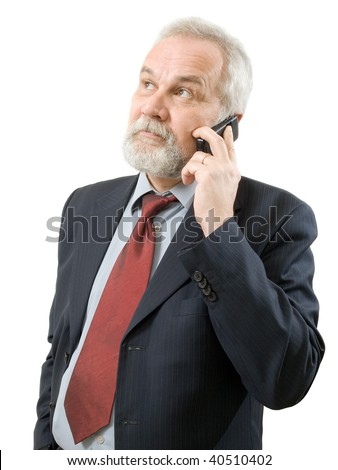 Businessman with phone on white background (isolated). - stock photo