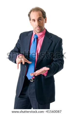 Businessman with pink shirt looking serious on white background - stock photo