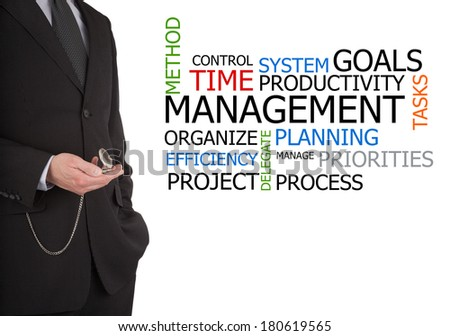 businessman with pocket watch next to a time management word cloud - stock photo