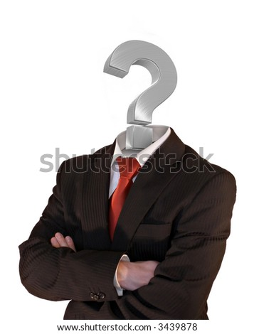 businessman with question mark instead of a head - stock photo