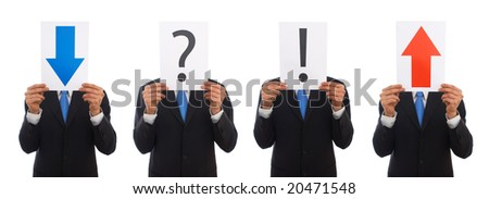 businessman with question mark sign on white background