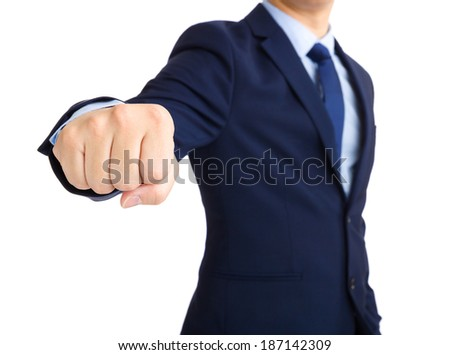 Businessman with ready to fight