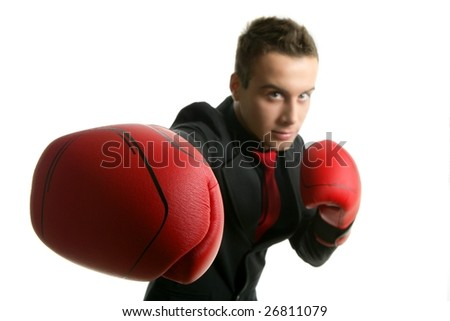 Businessman with red boxer gloves isolated over white - stock photo