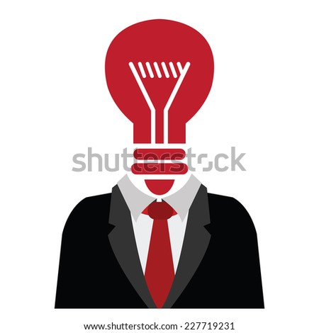 Businessman With Red Light Bulb Head Isolated on White Background  - stock photo