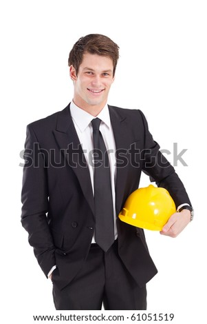 businessman with safety helmet - stock photo