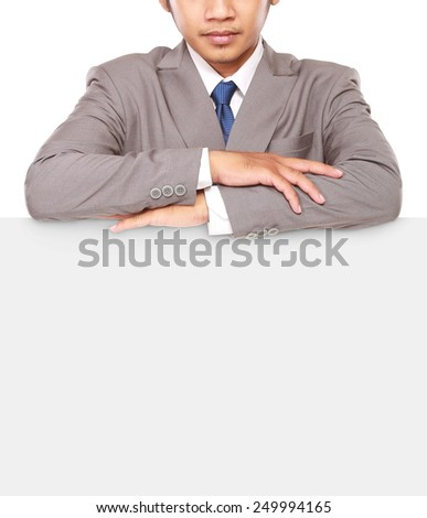 businessman with serious face folded hands on board, isolated on white background - stock photo