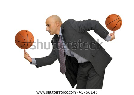 Businessman with several basketballs isolated in white