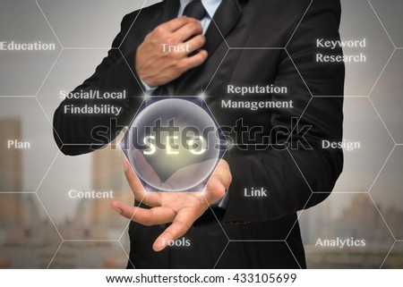 Businessman with show hand posture to present the SEO icon with business success model on photo blurred of cityscape background,Elements of this image furnished by NASA, Business technology concept - stock photo