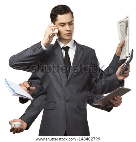 businessman with six hands in elegant suit working hold notepad clipboard, cell phone, paper, document, contract, folder business plan. Isolated over white background. Concept of busy - stock photo