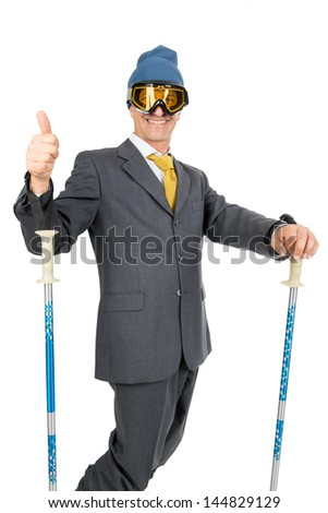 Businessman with ski gear isolated in white