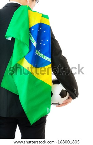 Businessman with soccer ball and brazil flag
