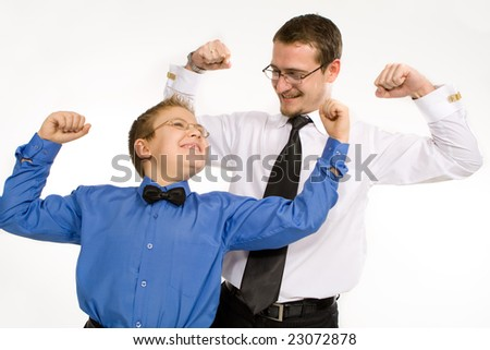 Businessman with son training isolated on white