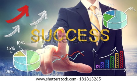 Businessman with success text and concept cartoon - stock photo