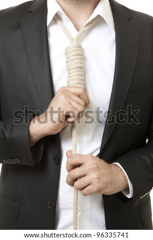 Businessman with suicide rope - stock photo