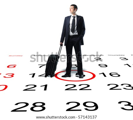 businessman with suitcase on 3d calendar