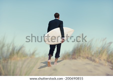 Businessman with Surfboard Going to the Beach - stock photo