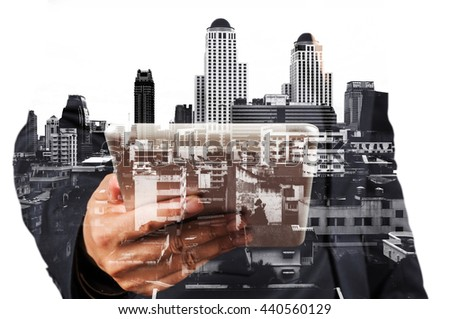 Businessman with Tablet and City of Bangkok, double exposure as Real Estate Development Concept - stock photo