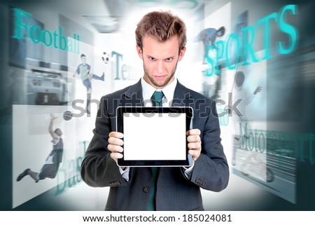 Businessman with tablet in a background with sports images - stock photo