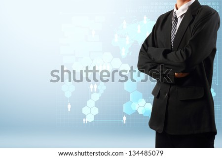 Businessman with technology business concept, Creative network information process diagram - stock photo