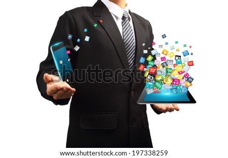 Businessman with technology idea concept, Creative communication virtual networking information process diagram modern design template - stock photo