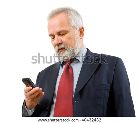 Businessman with telephone on white background (isolated). - stock photo