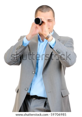 Businessman with telescope looking forward isolated on white background - stock photo