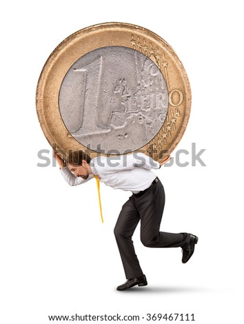 Businessman with the euro coin on his back - stock photo