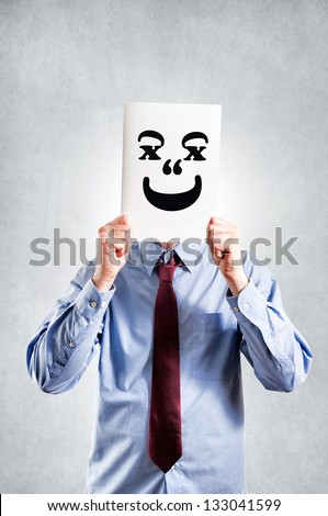 Businessman with the funny smile - stock photo